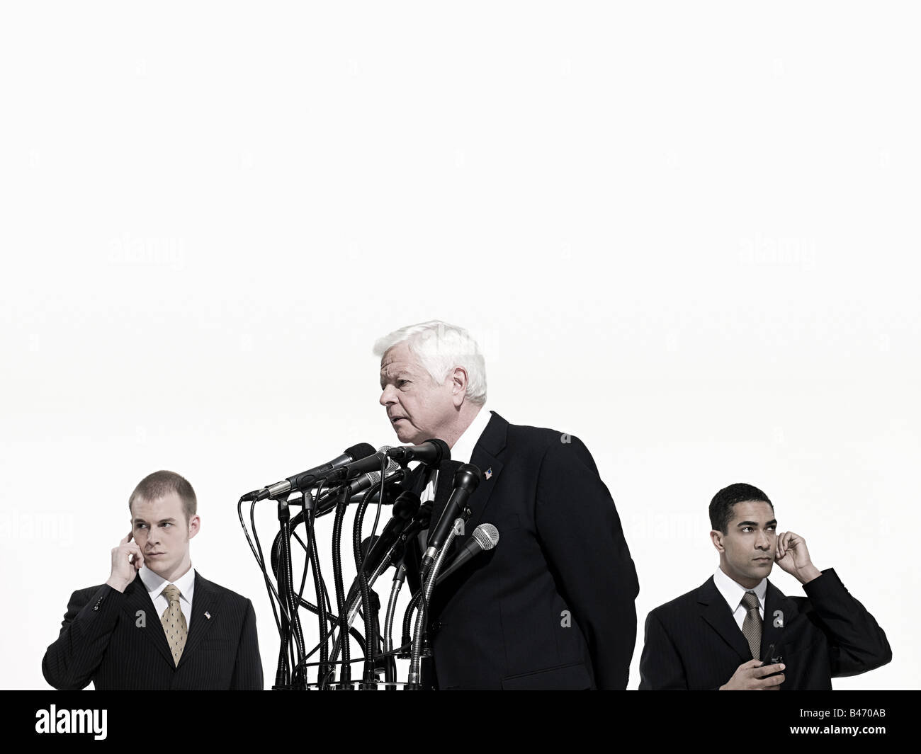 Politician and bodyguards Stock Photo