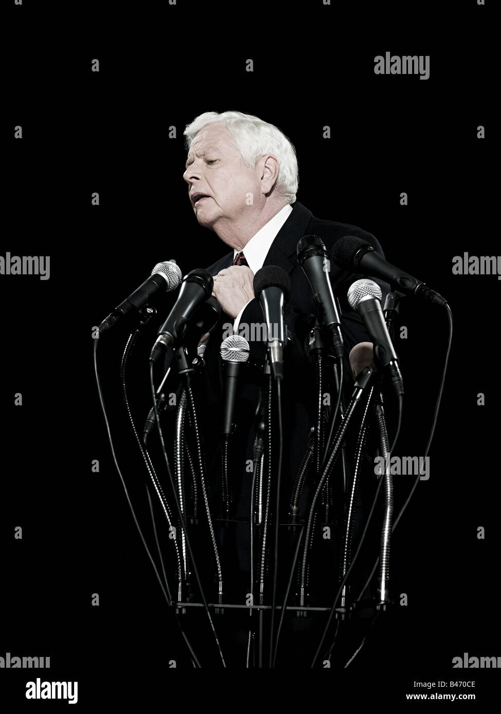 Politician and microphones - Stock Image