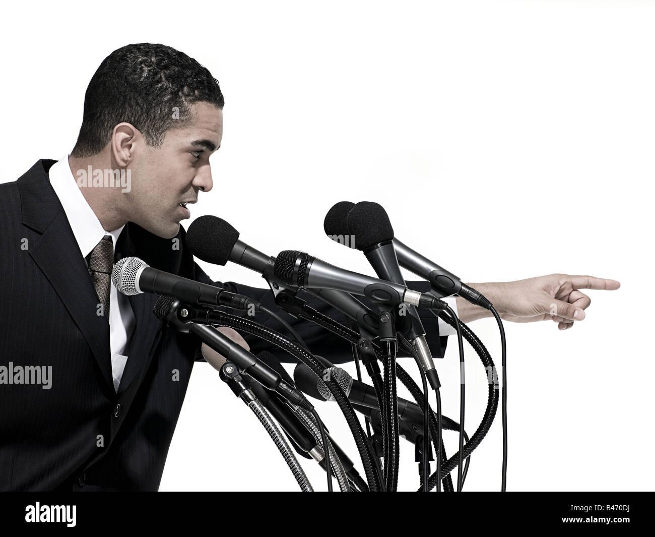 Politician giving speech Stock Photo