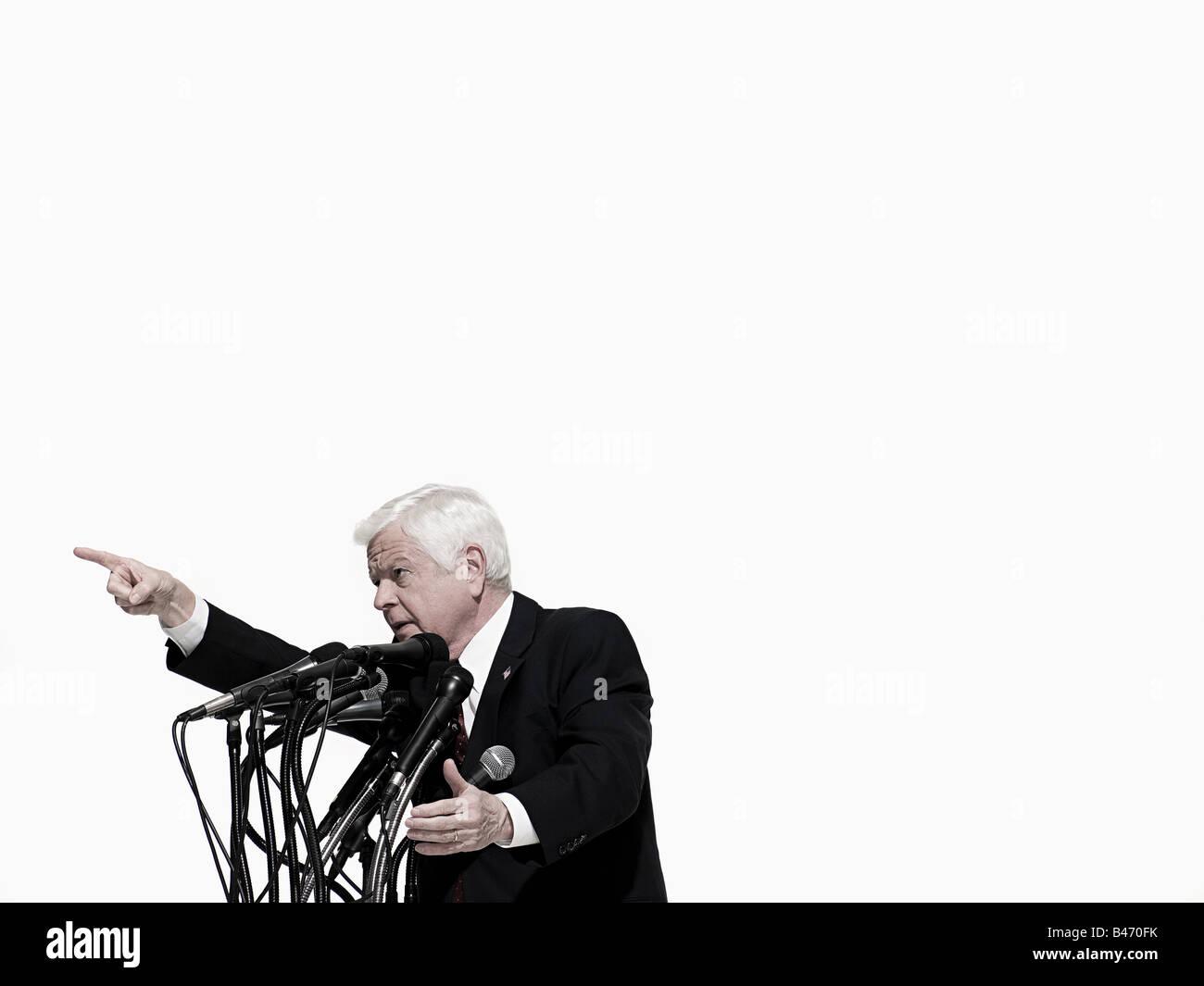Politician giving speech - Stock Image