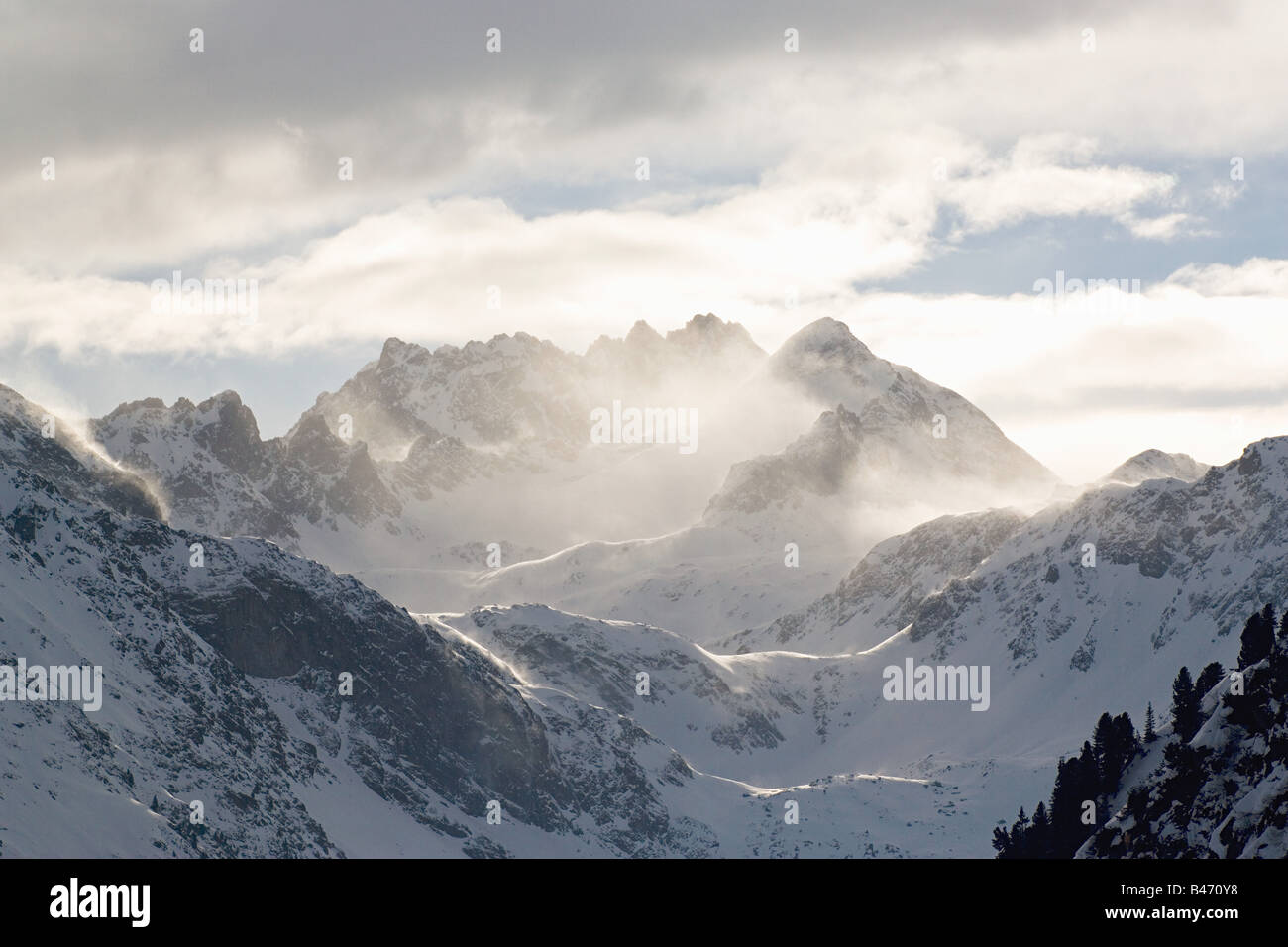 Clouds and mountain peaks - Stock Image