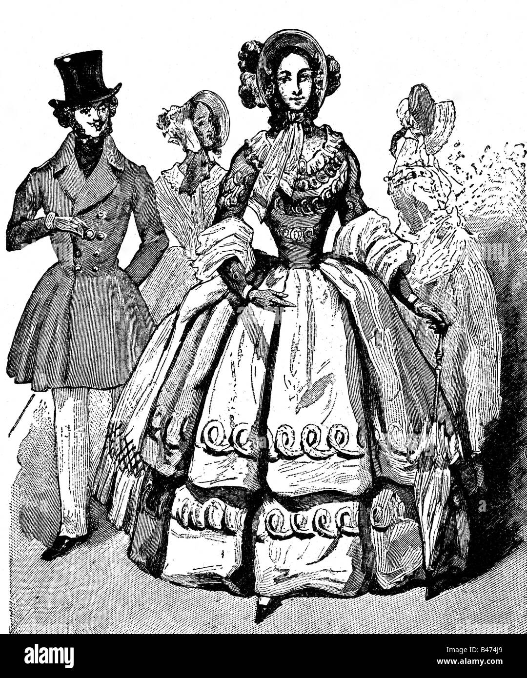 fashion, 19th century, ladies and mens fashion, Germany, 1832,  Additional-Rights-Clearances-NA