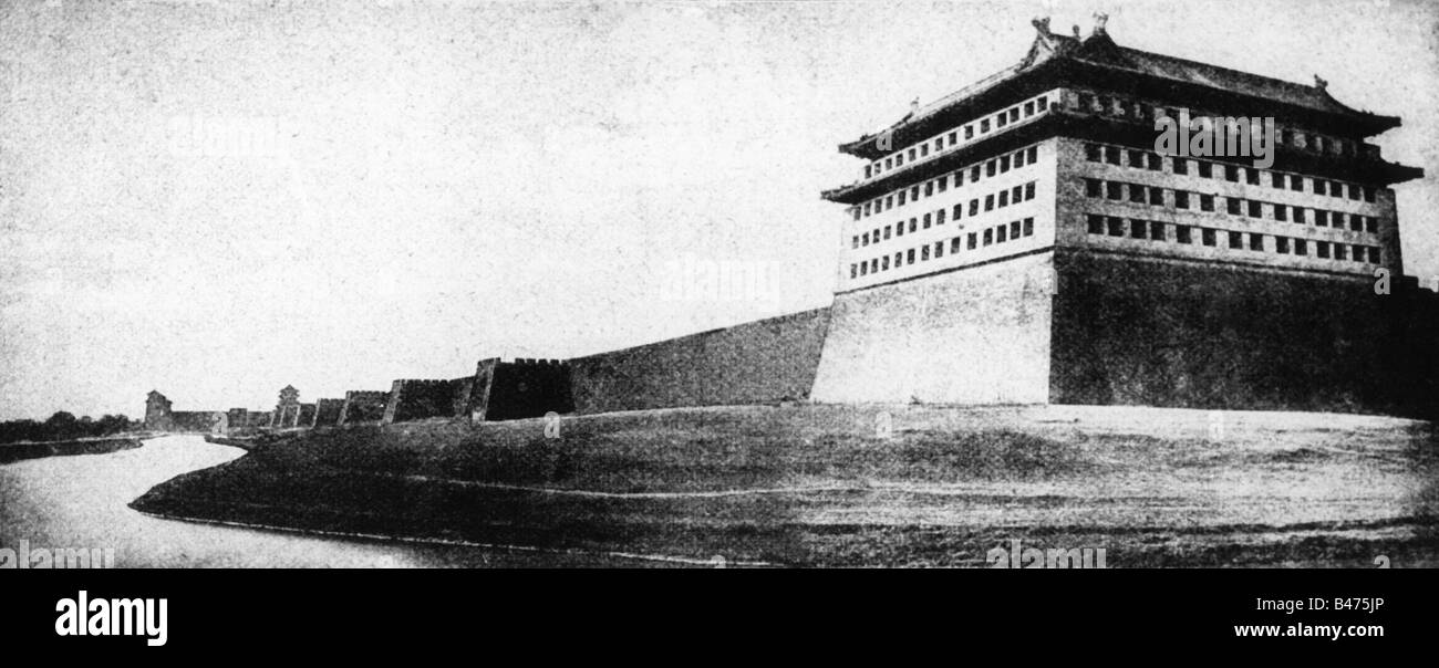 geography / travel, China, Beijing, city wall, built 1419 - 1437, demolished in 1949, photo from 1900, bastion, - Stock Image