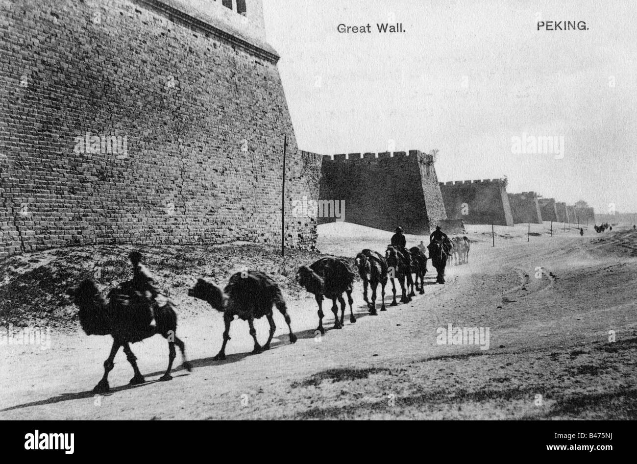 geography / travel, China, Beijing, city wall, built 1419 - 1437, demolished in 1949, picture postcard, circa 1900, - Stock Image