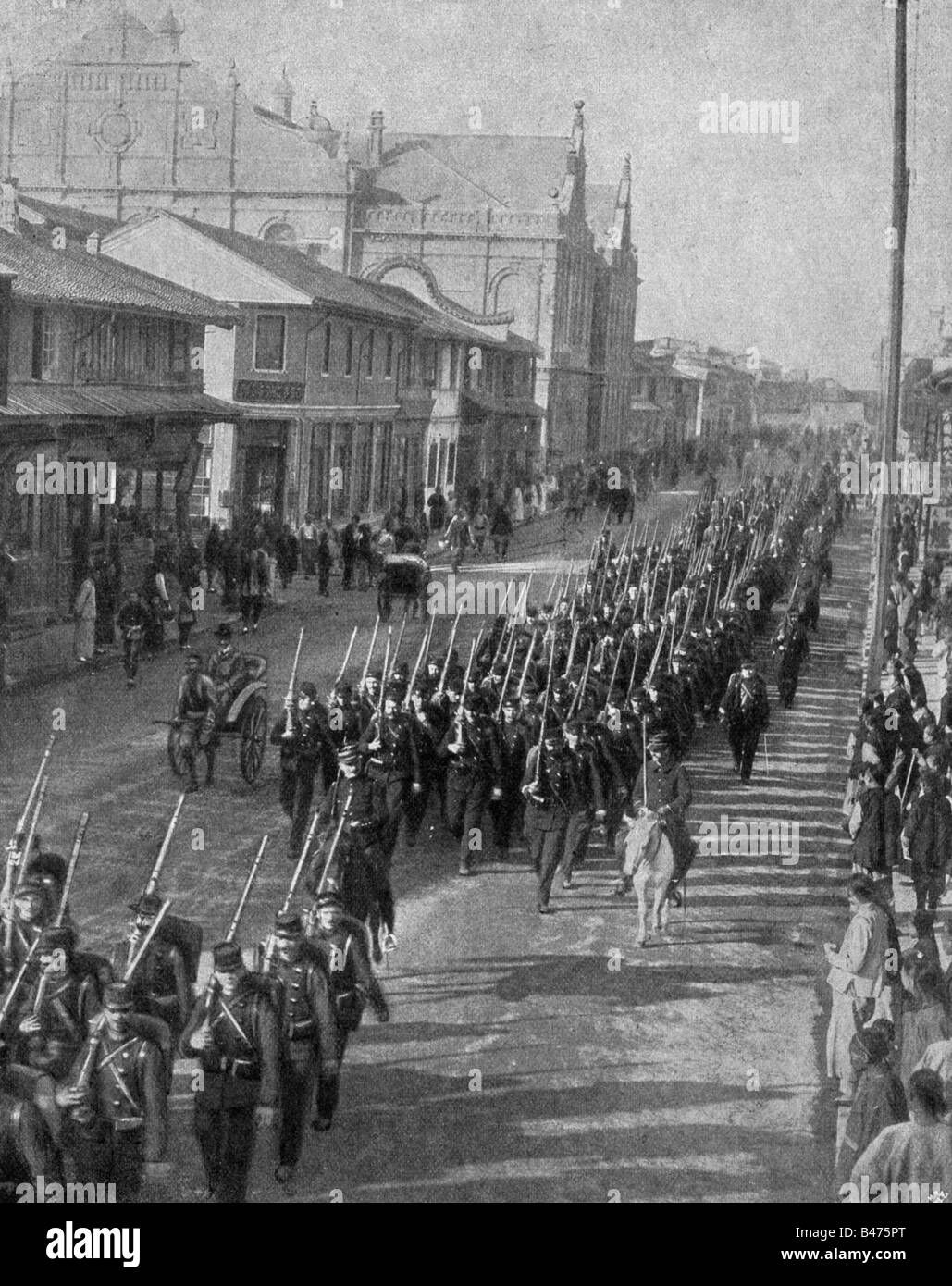 geography / travel, China, politics, Boxer Rebellion, Shanghai, arrival of French soldiers, 1900, Additional-Rights - Stock Image