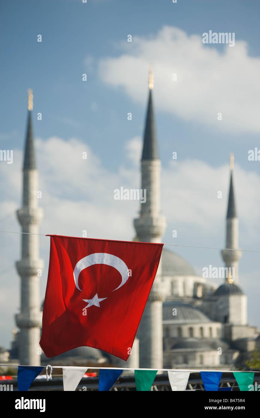 Turkish flag at blue mosque at ramadan - Stock Image