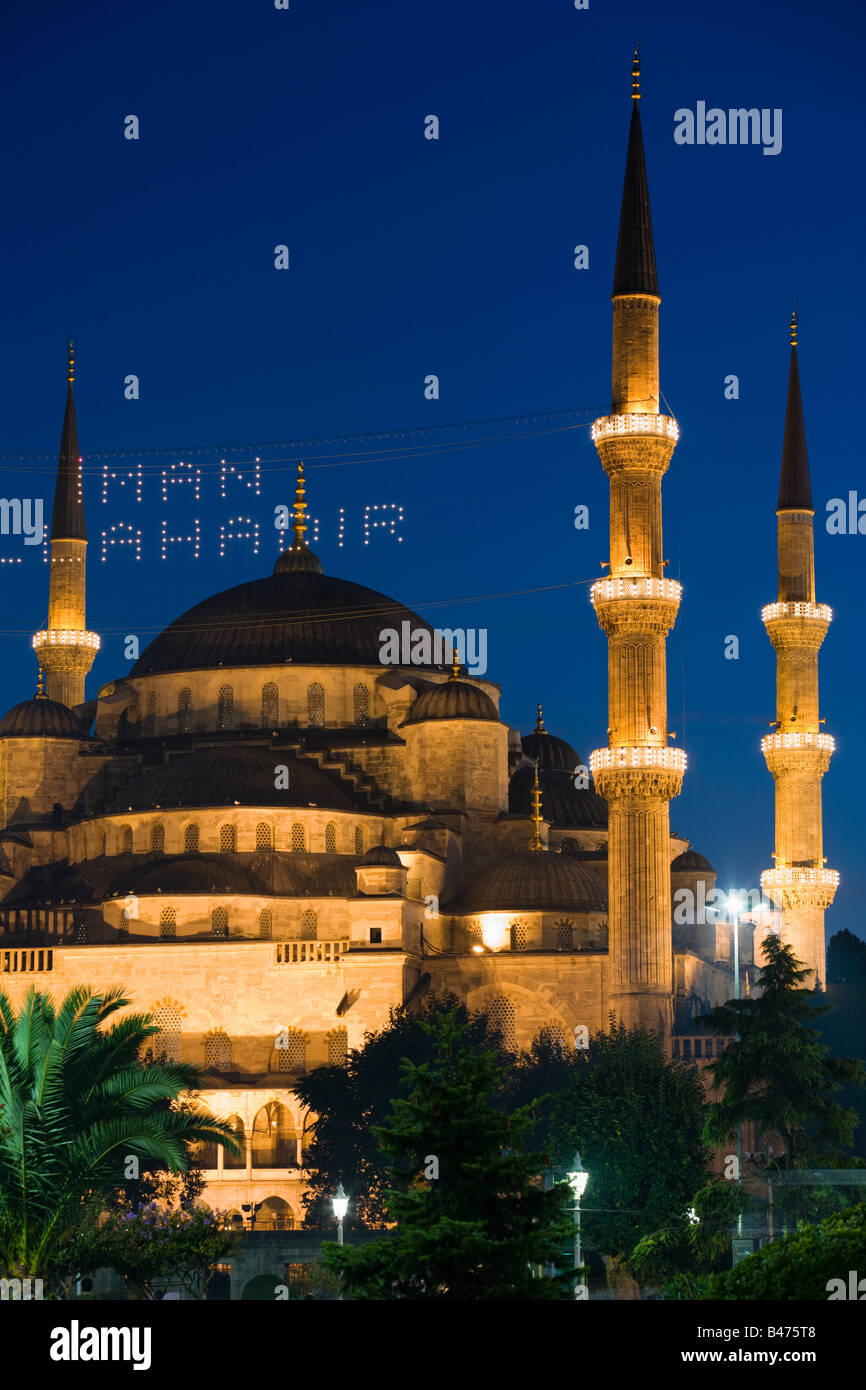 Blue mosque at ramadan - Stock Image