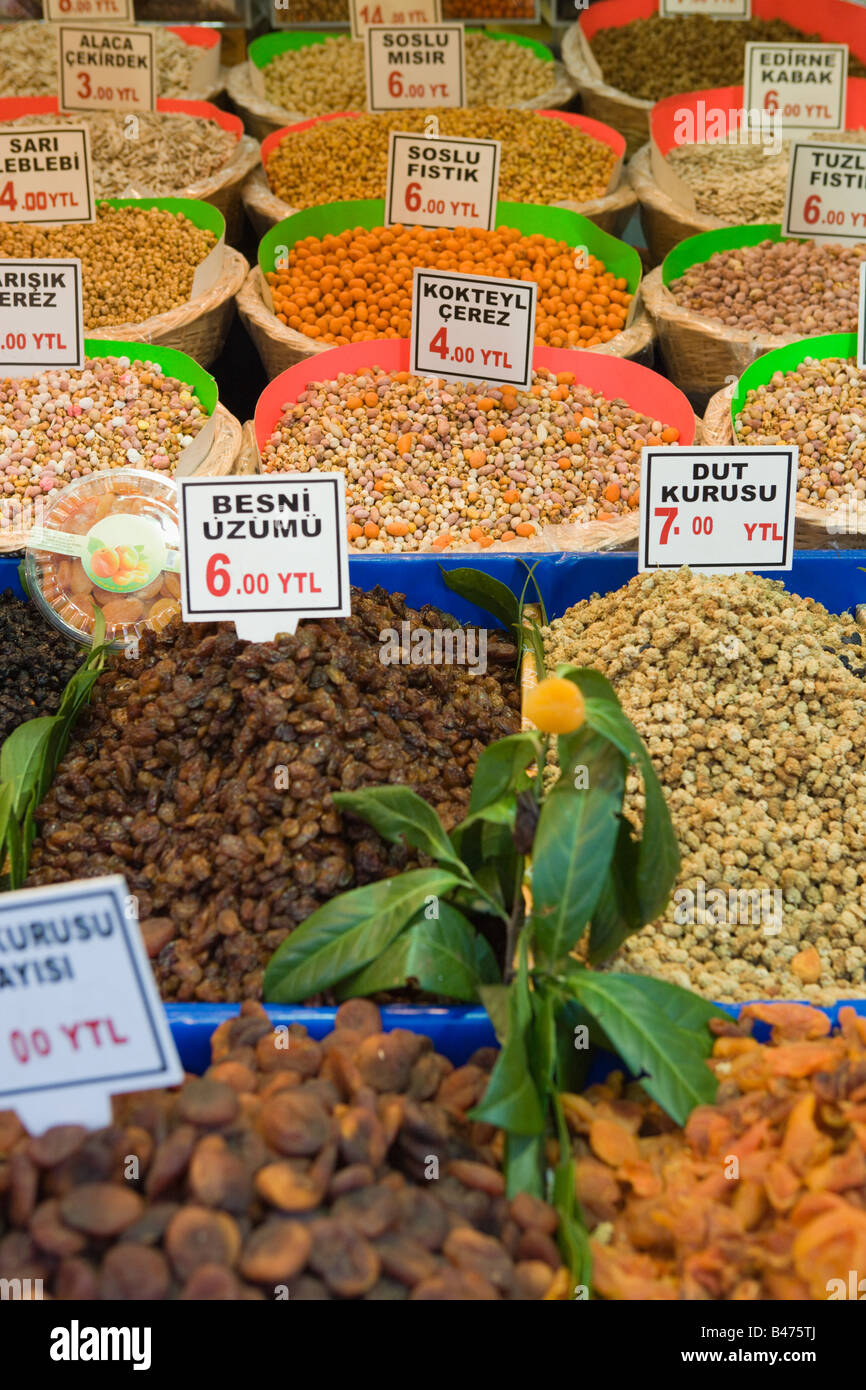 Fruits and nuts at spice bazaar - Stock Image