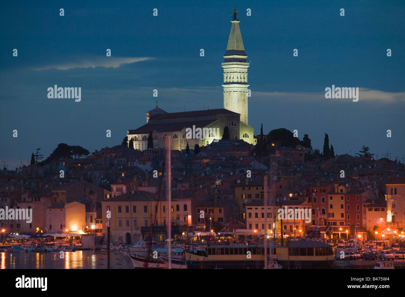 Rovinj old town at night Stock Photo