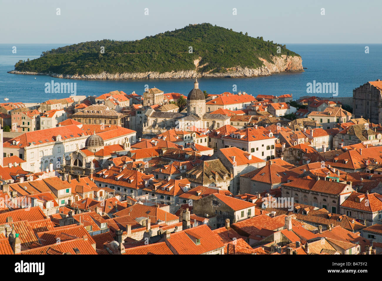 Dubrovnik old town and island Stock Photo