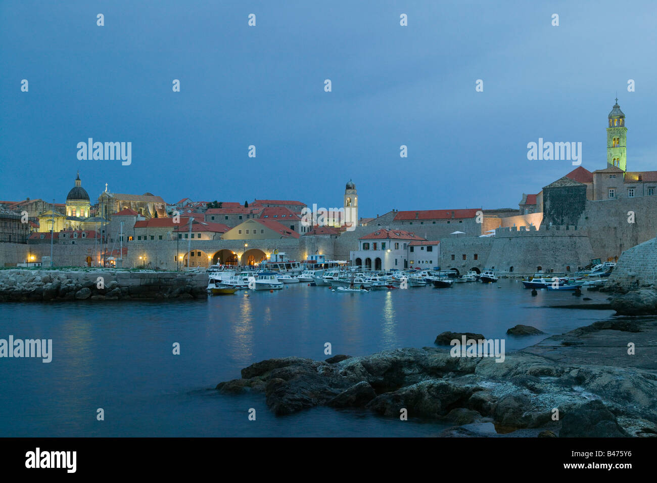 Dubrovnik old town at dusk Stock Photo