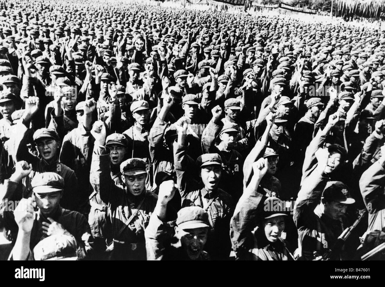 geography / travel, China, politics, Chinese soldiers during an anti-American demonstration in Beijing, late July Stock Photo