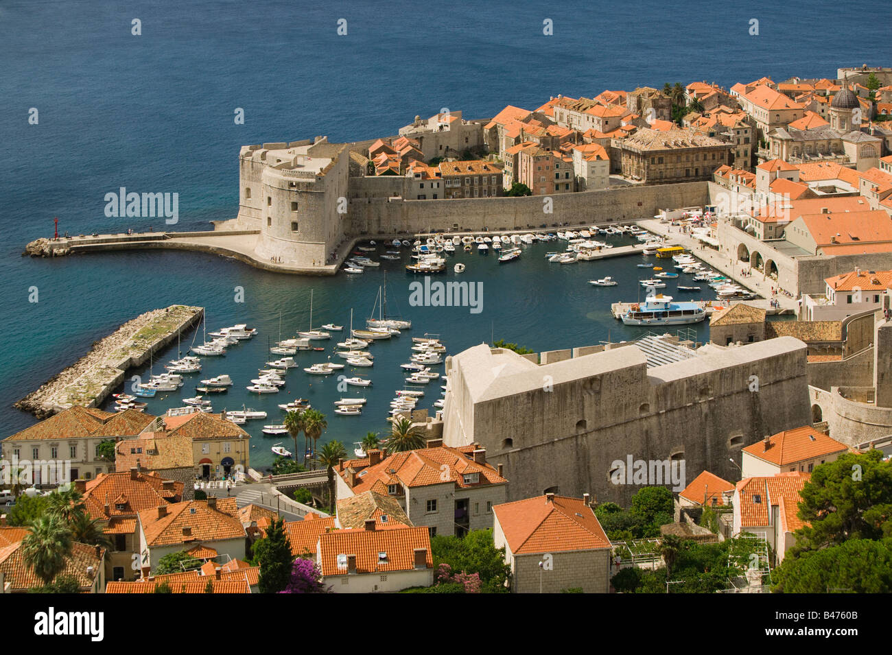 Dubrovnik old town and marina Stock Photo