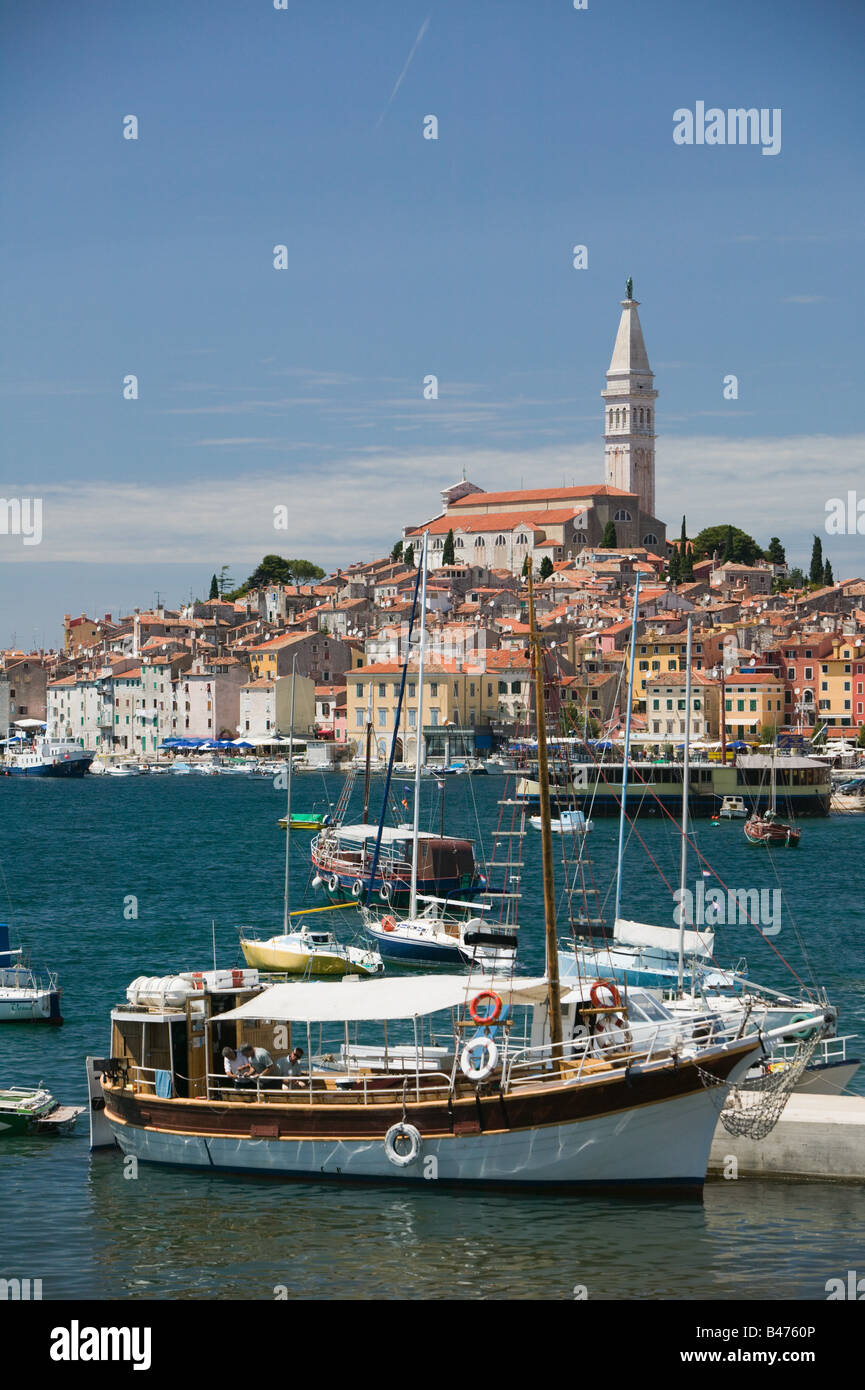 Rovinj old town and harbour Stock Photo
