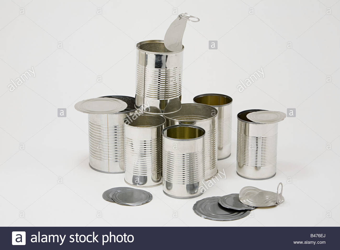 Stack of cans - Stock Image