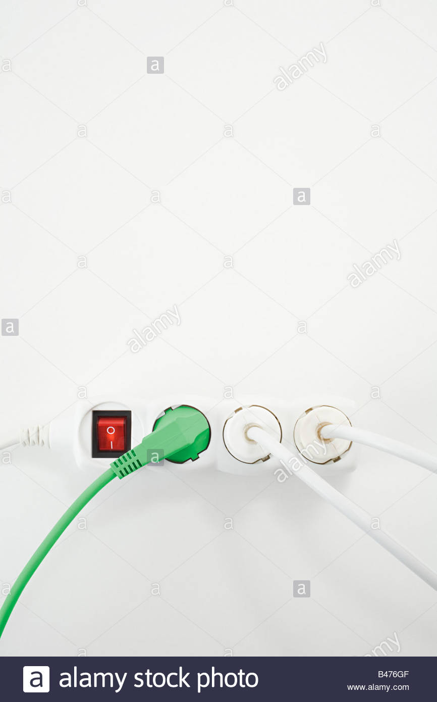 Electrical plug and socket Stock Photo