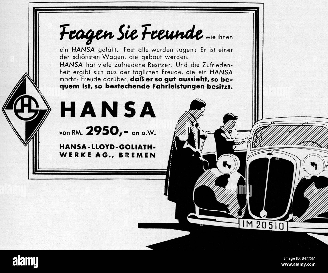 advertising, cars, 'Hansa', Hansa-Lloyd Goliath Werke, Bremen, advert, 'Atlantis', March 1937, , - Stock Image