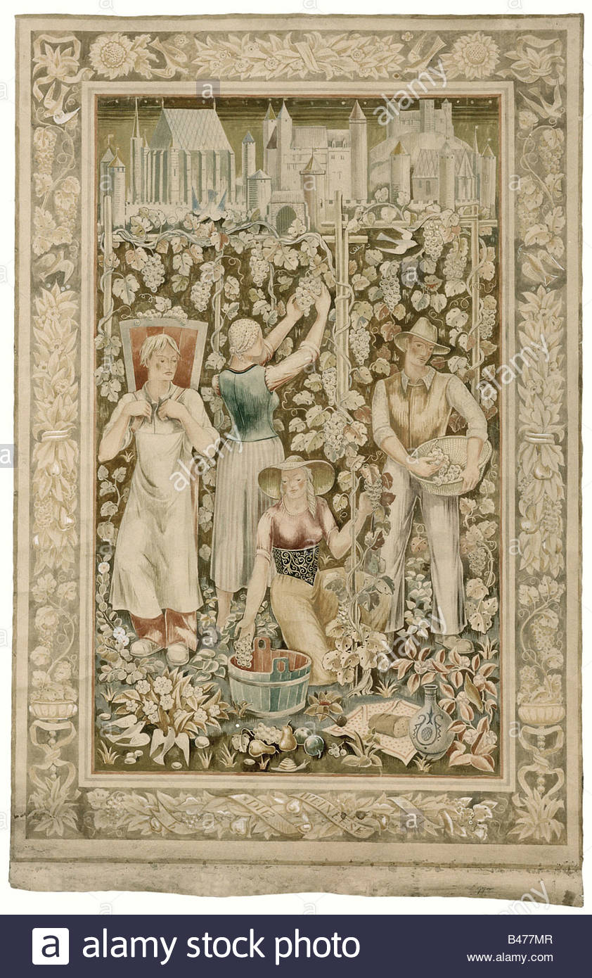 Fritz Heidingsfeld - The Wine Harvest., An original sketch for a tapestry in 1:1 scale. Large format painting, tempera - Stock Image