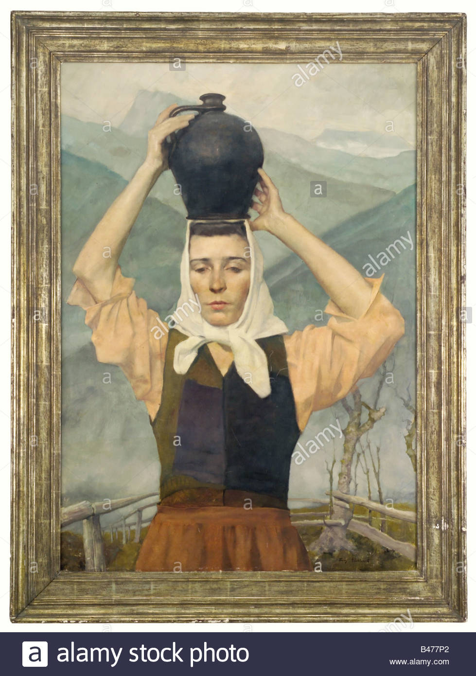 Franz Eichhorst (1885 - 1948) - Girl with a Jug, 1st version 1928., Oil on cartonage. In the lower right corner - Stock Image