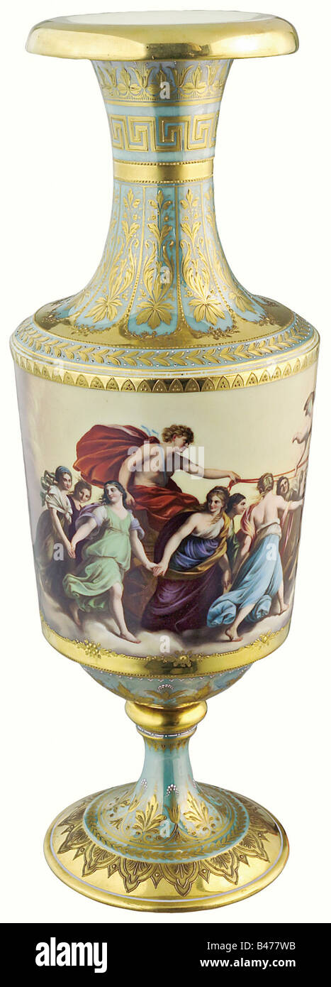 A magnificent Viennese vase, middle of the 19th century. Porcelain, glazed in white and iridescent turquoise, hand - Stock Image