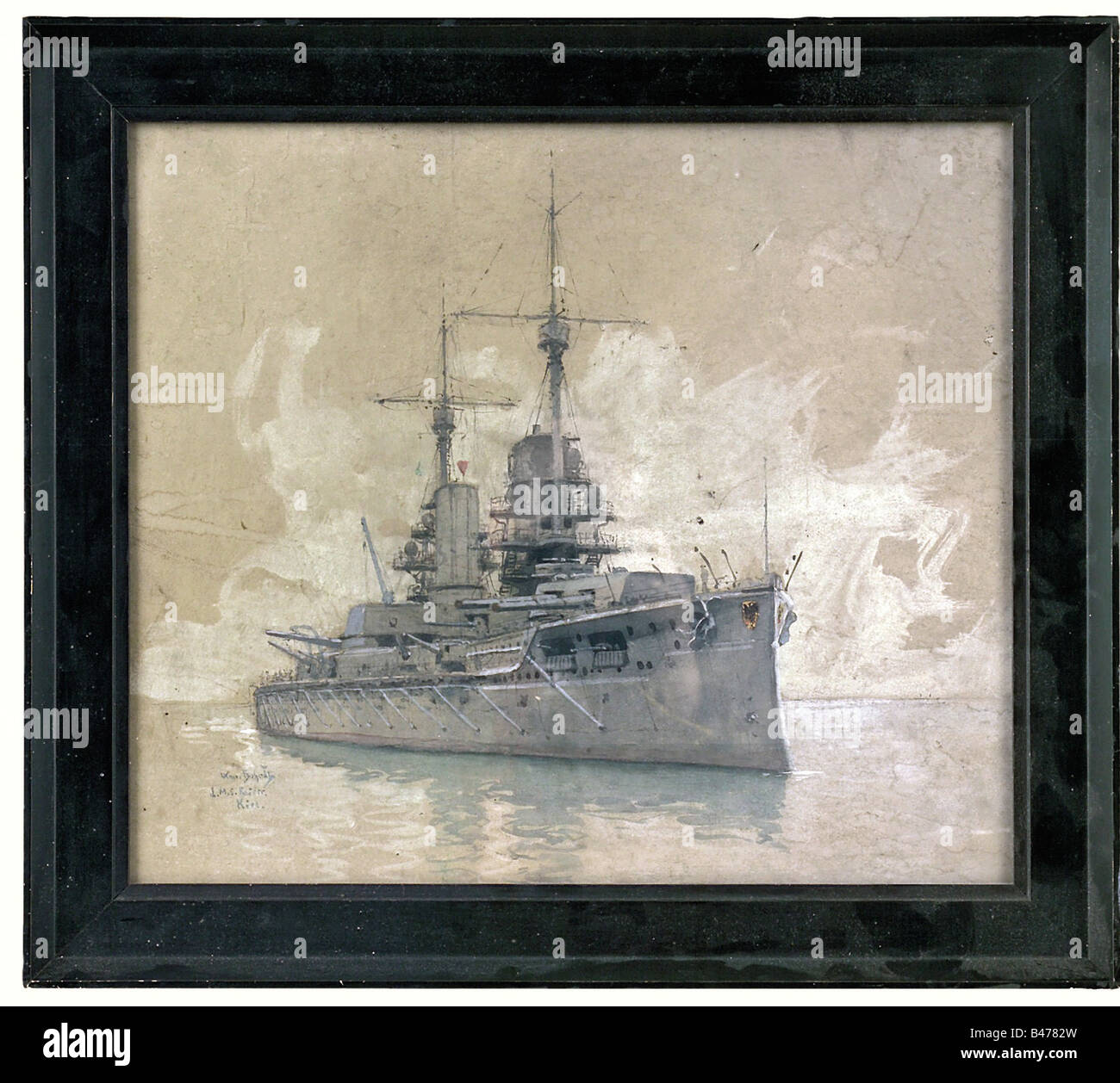 Hans Bohrdt (1857 - 1945), 'S.M.S. Kaiser - Kiel'. Gouache on cardboard. Signed and entitled at the lower - Stock Image
