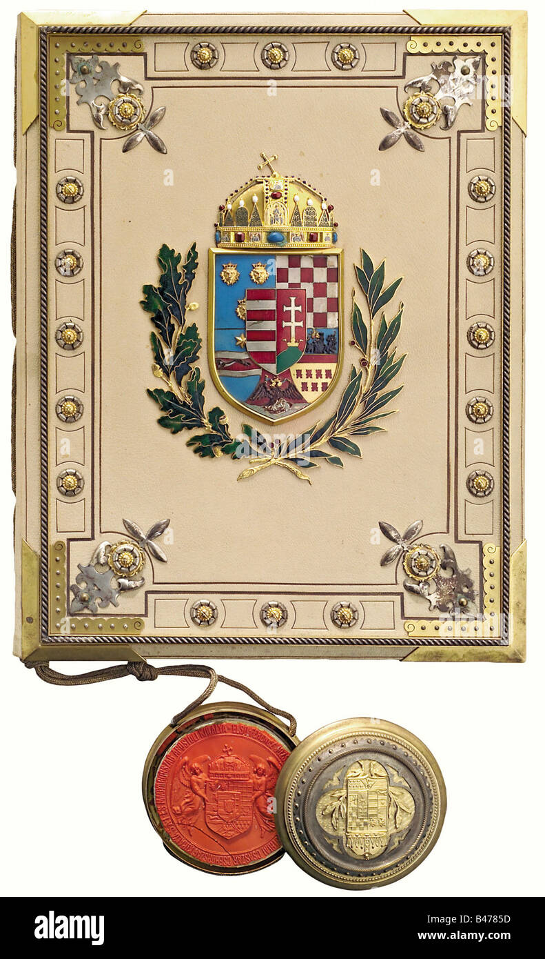 A patent of nobility, under Emperor Franz Joseph I elevating Antalt Kiss on 22 March 1912. Parchment document with - Stock Image