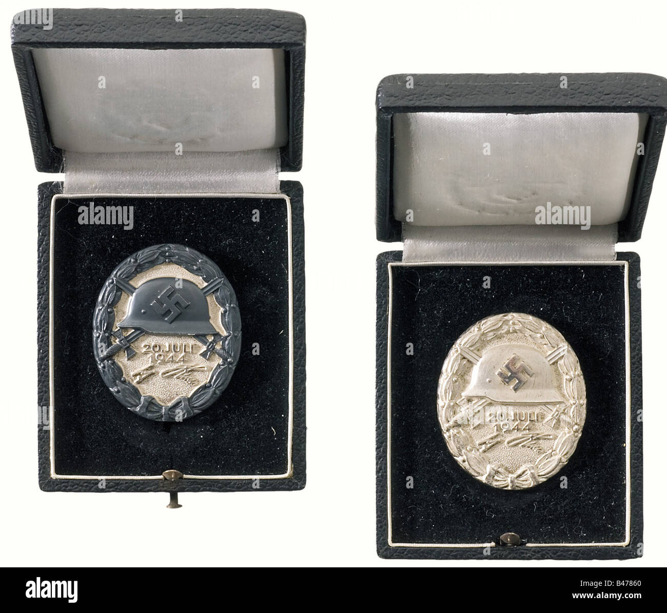 A Wound Badge 20 July, 1944 in Black., In original presentation case. Silver, with areas of patination. Reverse Stock Photo