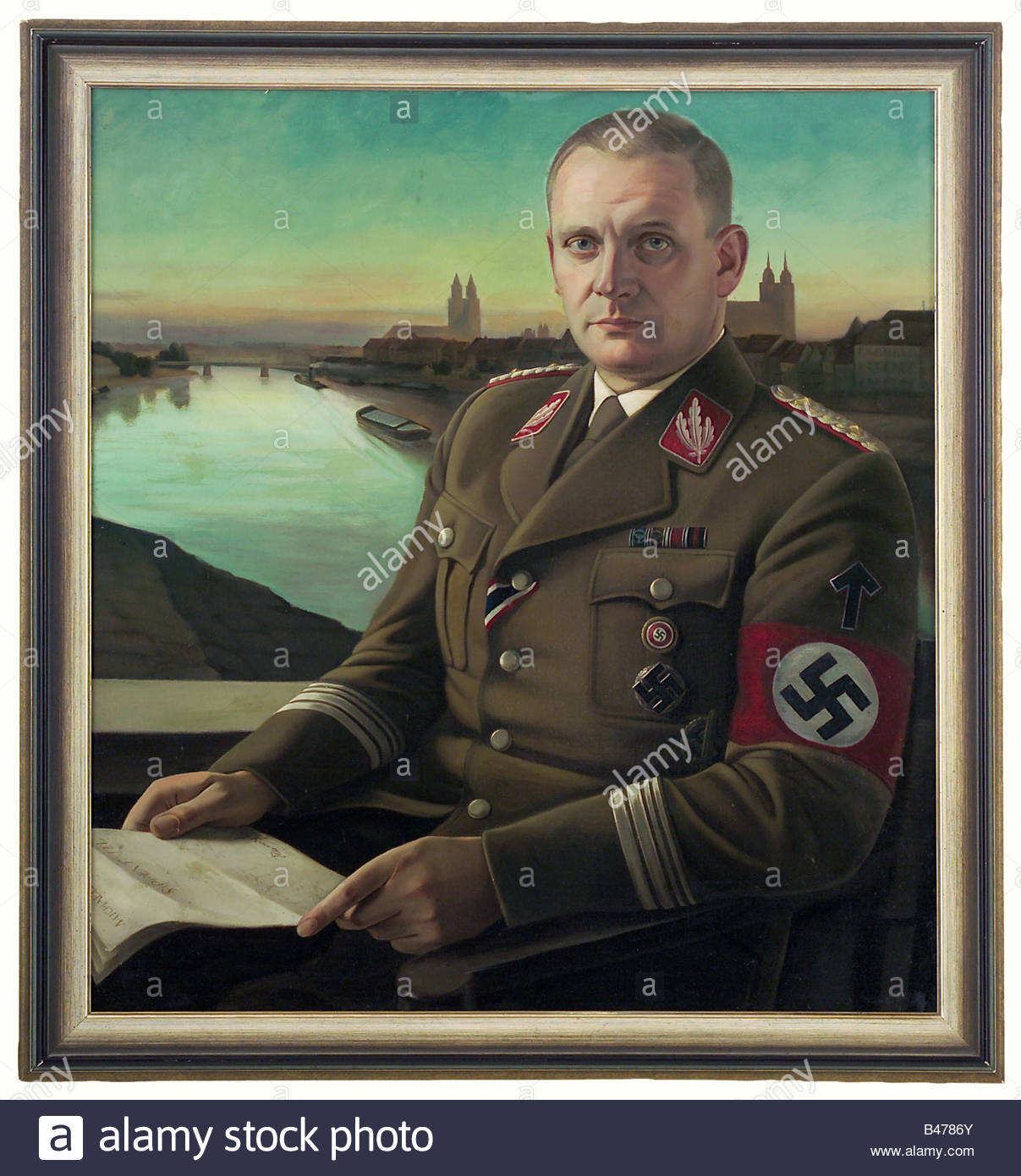 SA-Gruppenführer Rudolf Michaelis, A portrait, attributed to Wilhelm Oppermann. Oil on canvas, unsigned. Michaelis Stock Photo