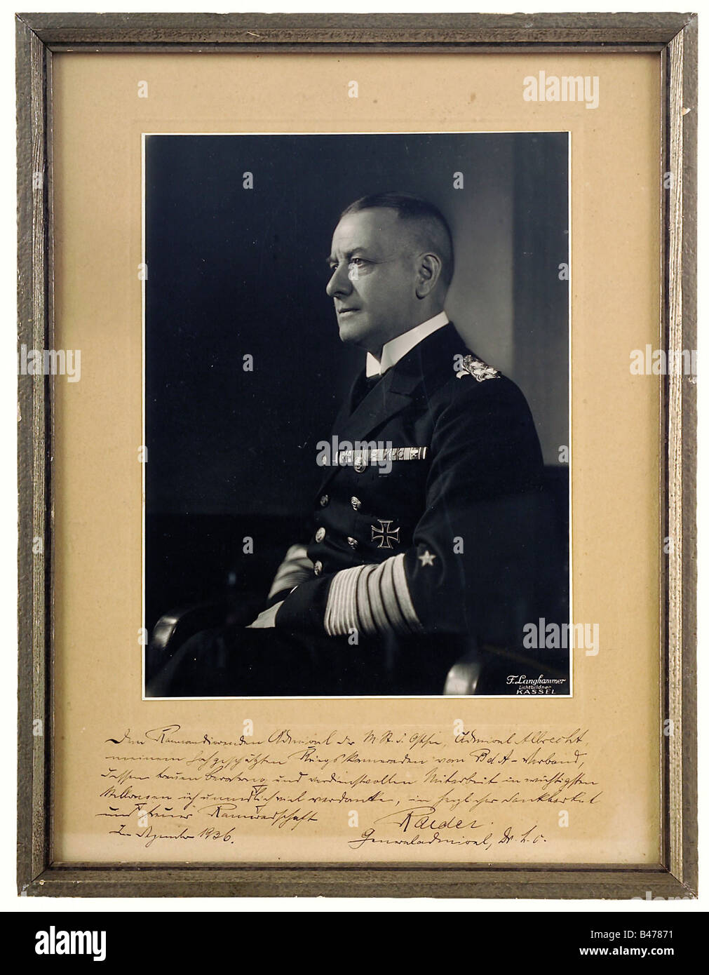 Grand Admiral Erich Raeder (1876-1960)., An official presentation photograph to Admiral Conrad Albrecht, 1936. Large - Stock Image