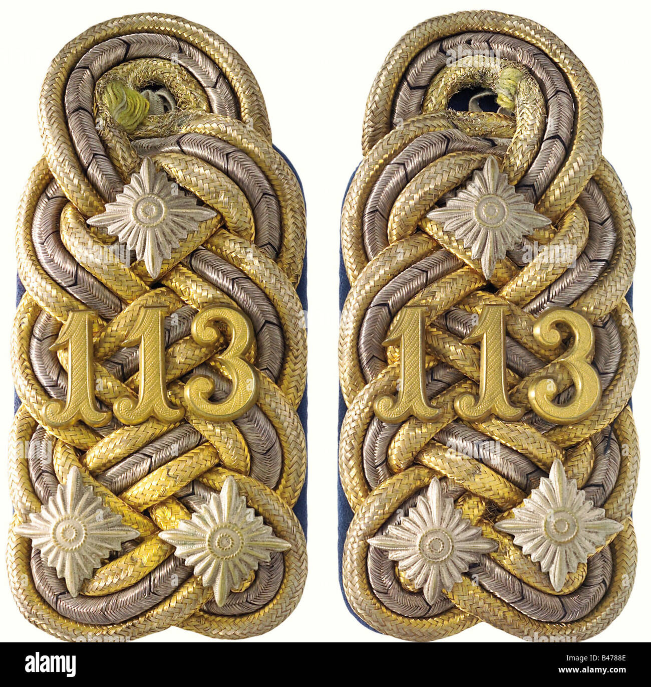 Baden: A pair of shoulder boards worn by Erb-Großherzog (crown prince), later Grand Duke, Friedrich II, in - Stock Image