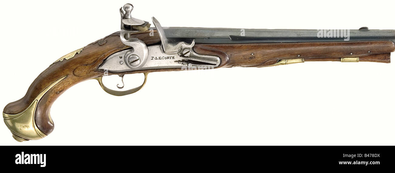 A flintlock pistol, by Jean Jacques Lecomte, Paris, circa 1780. Smooth, reblued barrel in 14 mm calibre with a centre - Stock Image