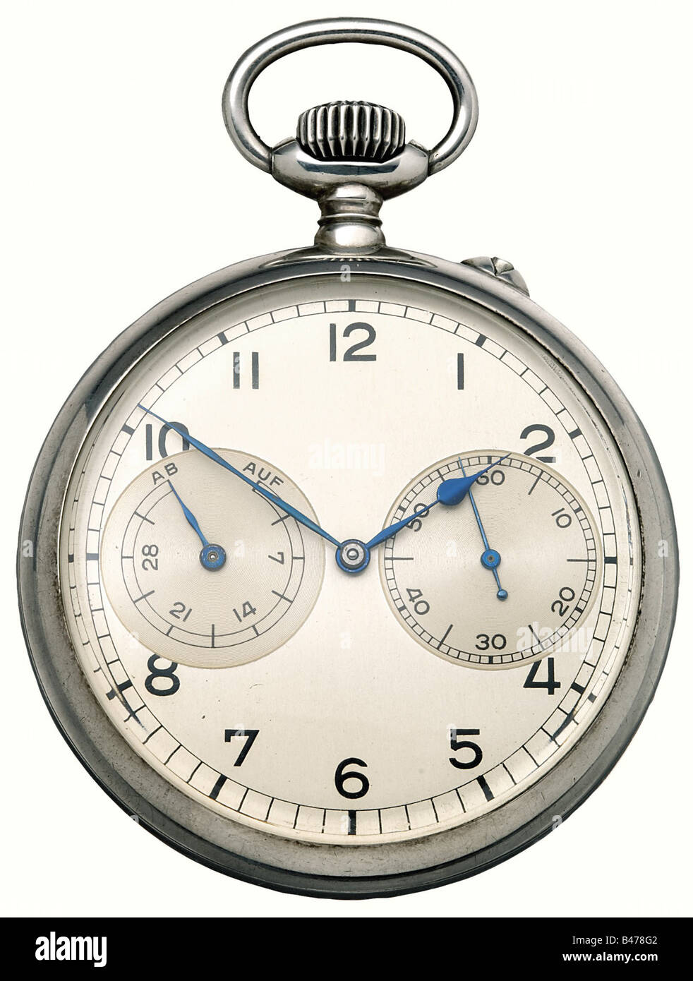 A chronometer, silver case, 48 mm diameter. Silver-plated dial. Blued hands, power reserve indicator, and second - Stock Image