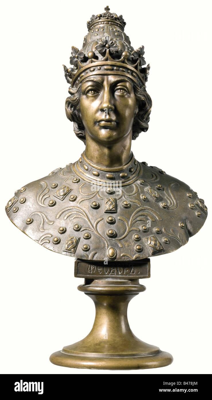 Tsar Feodor I. Ivanovitch, (1557 - 1598). Portrayal in regalia with the Czarist crown. Height 28 cm. Tsar Feodor - Stock Image