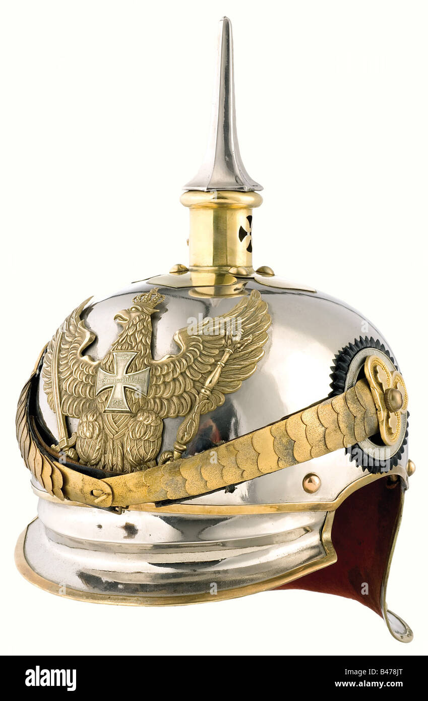 A helmet for reserve officers, in the 7th to 13th Light Horse (Jäger zu Pferd) Regiments. Steel skull with - Stock Image