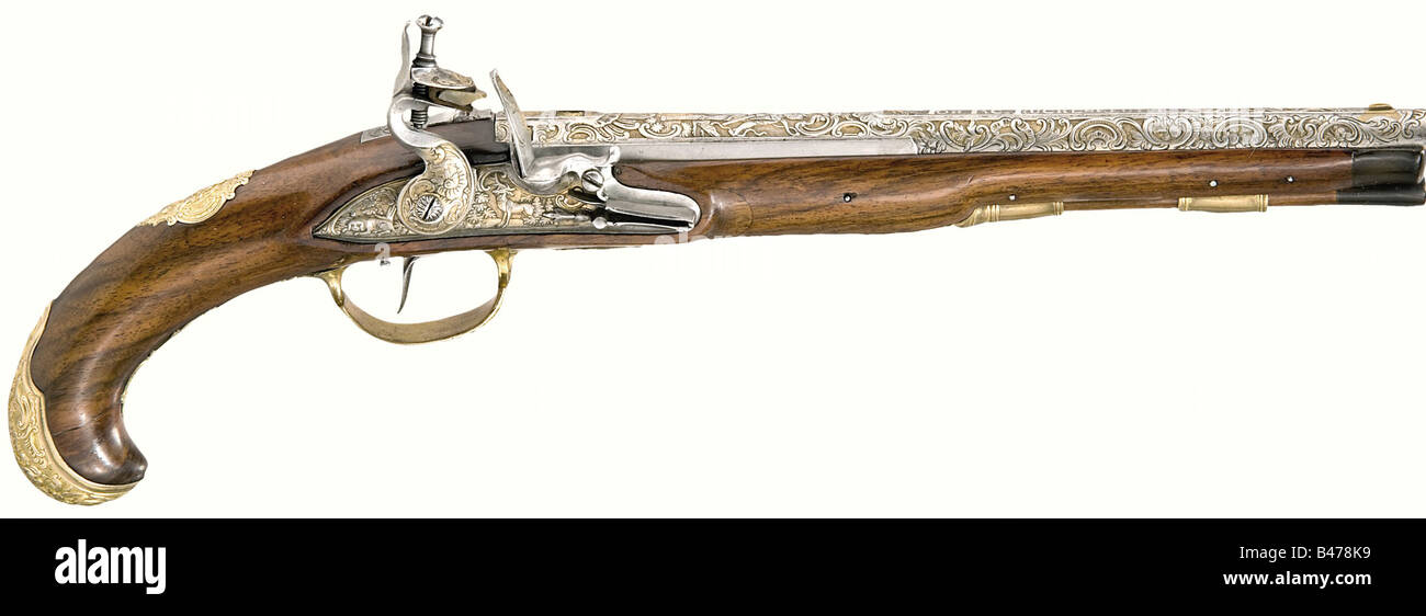 A hunting flintlock pistol., Johann Jacob Kuchenreuter in Steinweg near Regensburg, circa 1760. Barrel with smooth - Stock Image