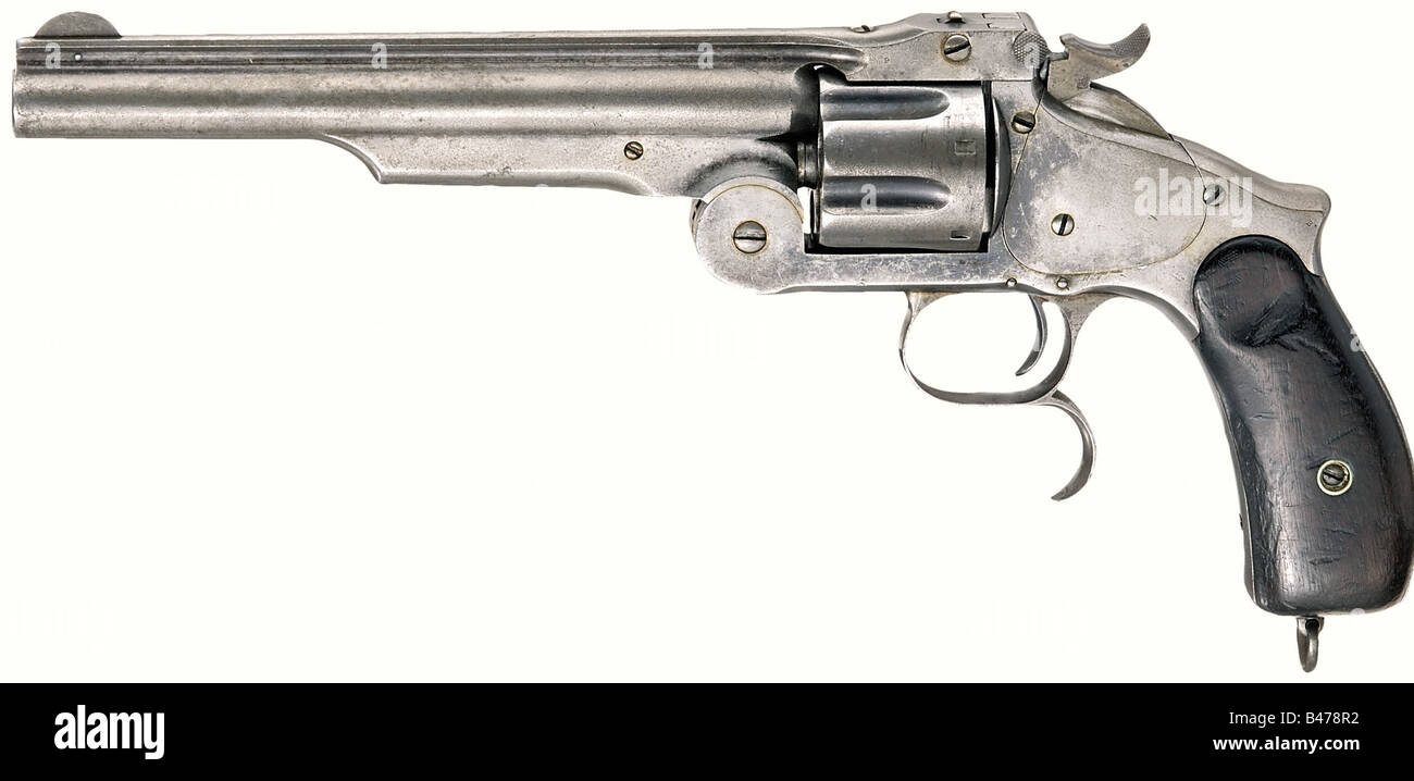 A Smith & Wesson second model russian, Manufactured at Smith & Wesson's. Calibre .44 Russian, no. 416. - Stock Image