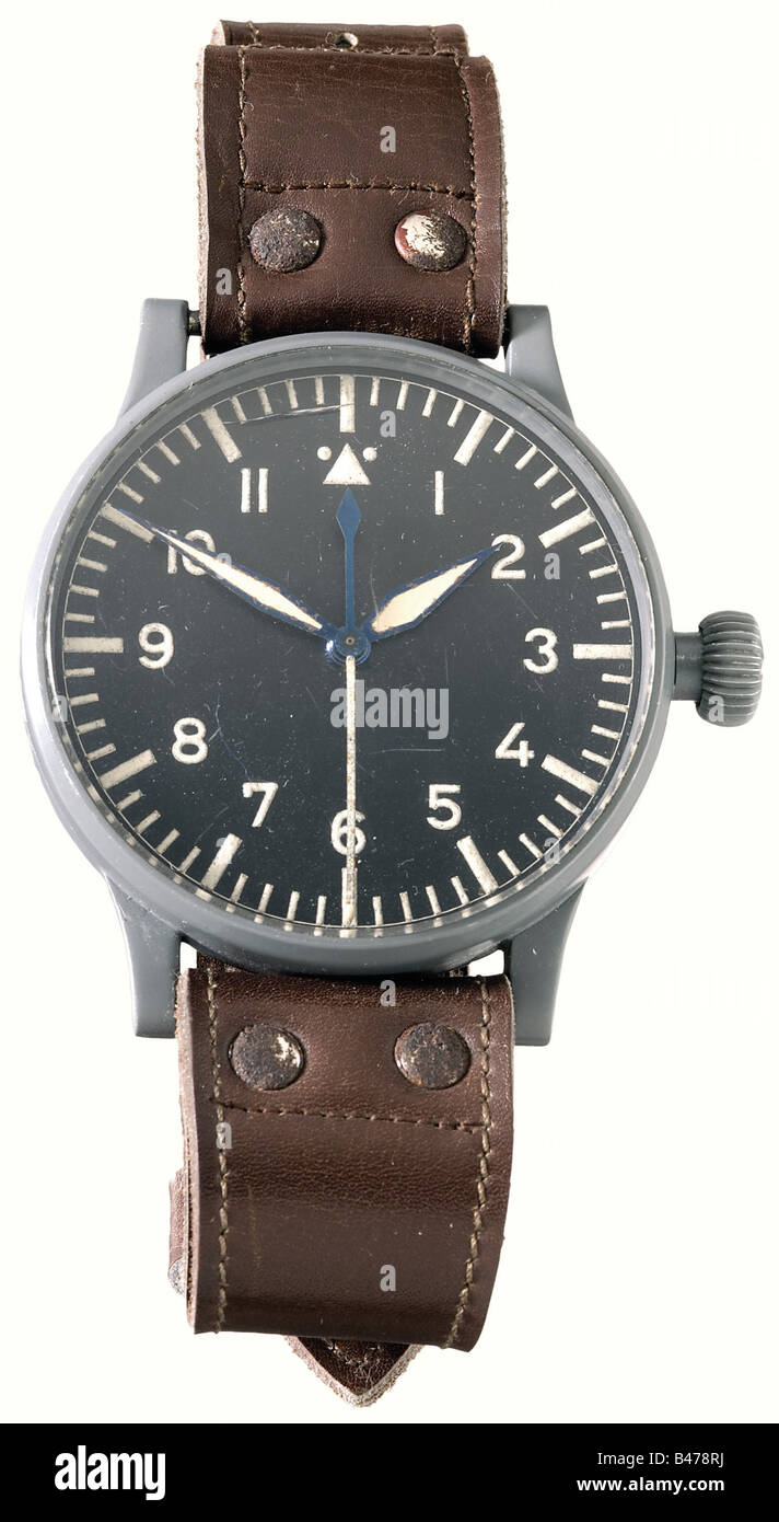 An aviator's chronometer, made by 'STOWA'. 55 mm diameter steel case with almost complete protective - Stock Image