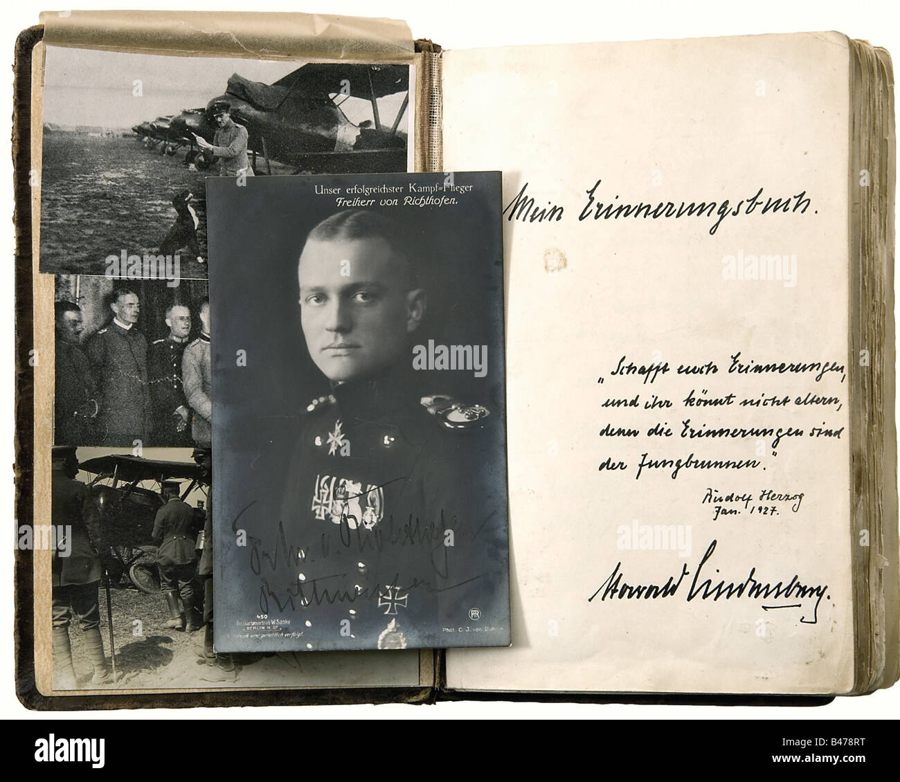 Harald Lindenberg - an autograph album., An album of memorabilia from the period 1926 - 1939, beginning with three - Stock Image