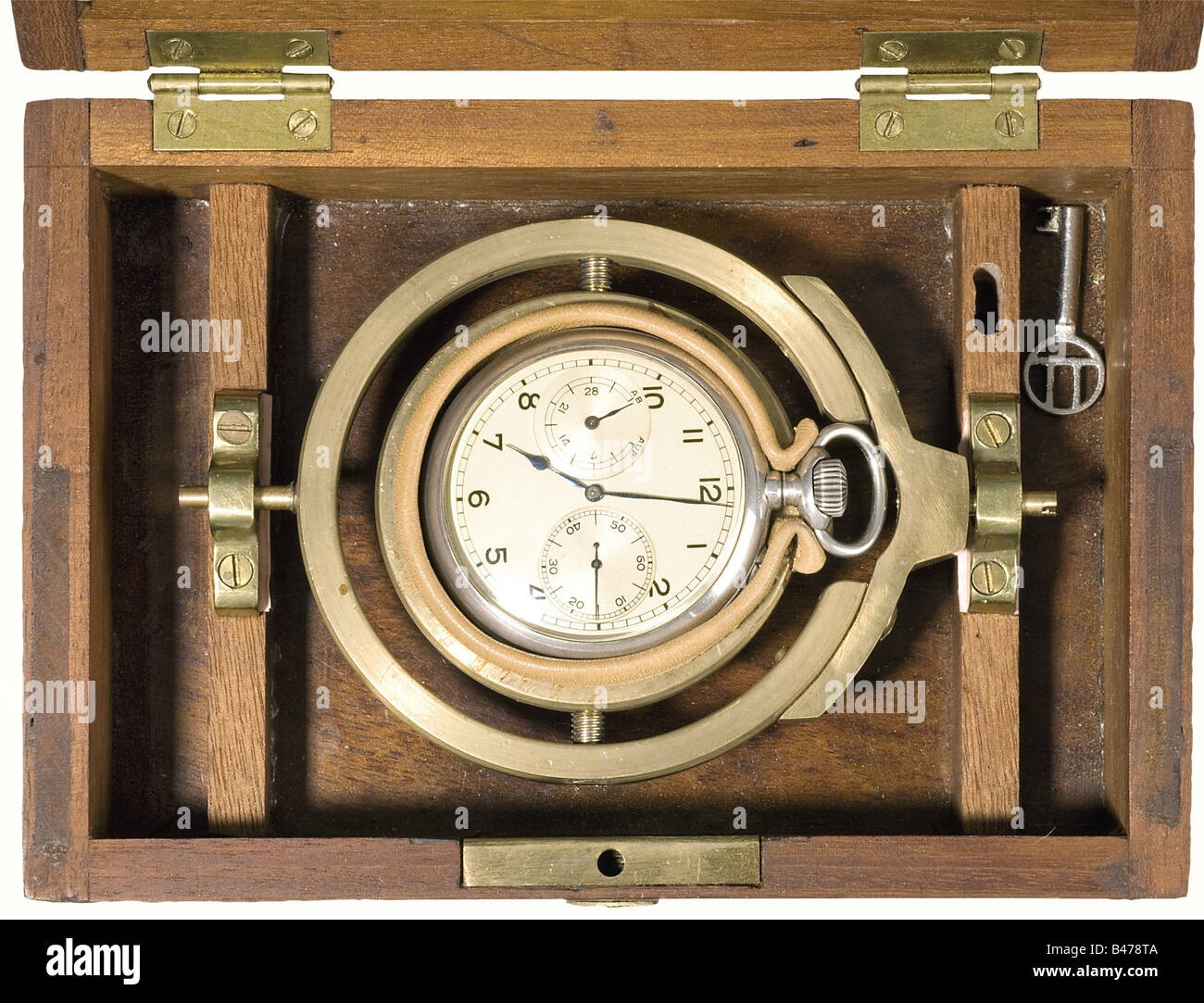 A chronometer, silver case, cal. 48. Silver plated dial, blued hour and minute hands, reserve power indicator, subsidiary - Stock Image