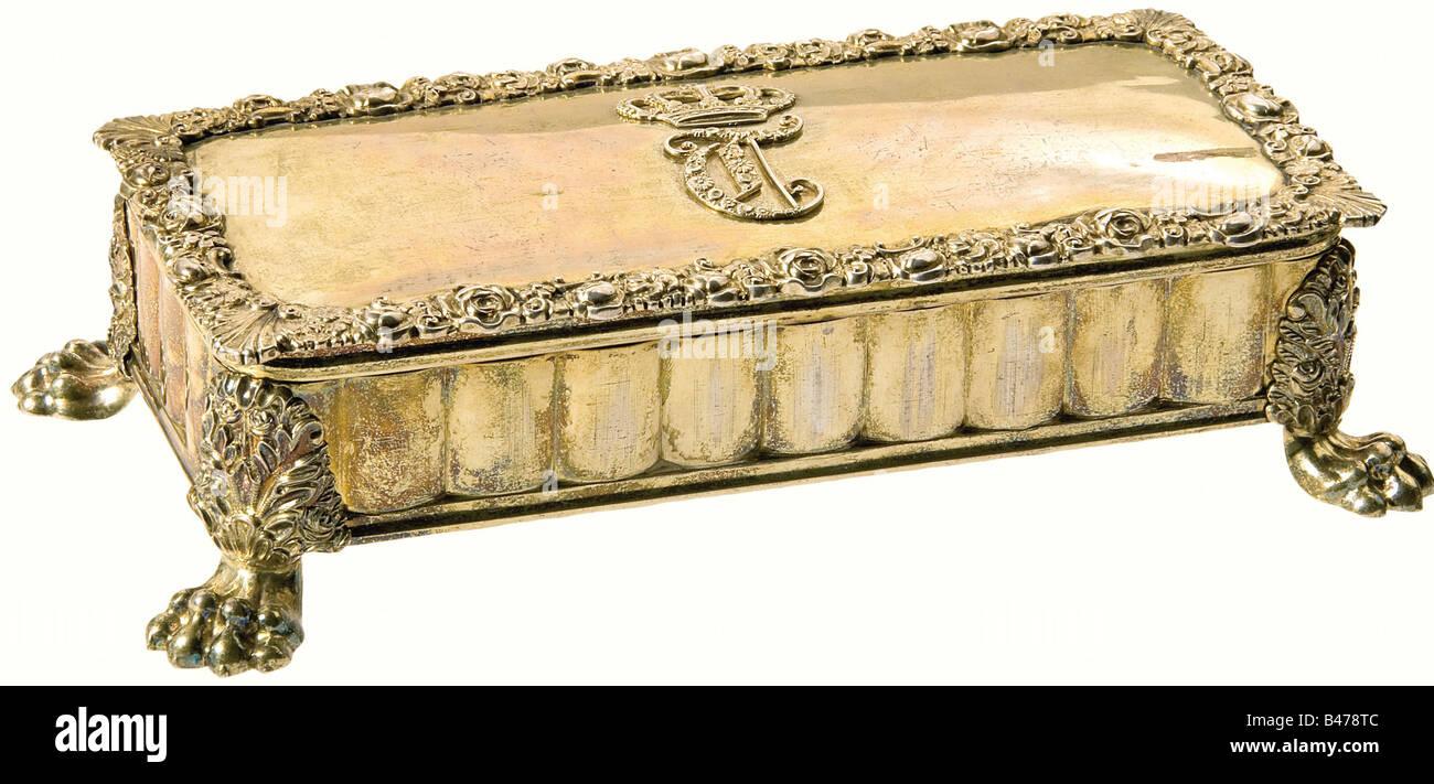 Queen Therese of Bavaria (1792 - 1854) - a small Vermeil casket., Stephan Mayerhofer, Vienna 1830. Rectangular shape - Stock Image