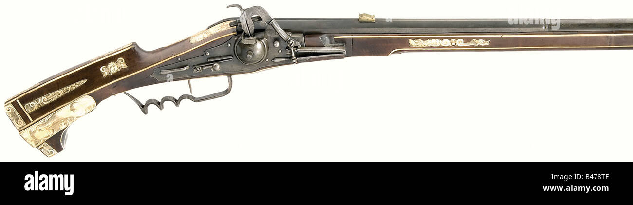 A 'Trabanten' wheellock musket, for the Dresden Guards under Elector Christian I (1560 - 1591) of Saxony, - Stock Image