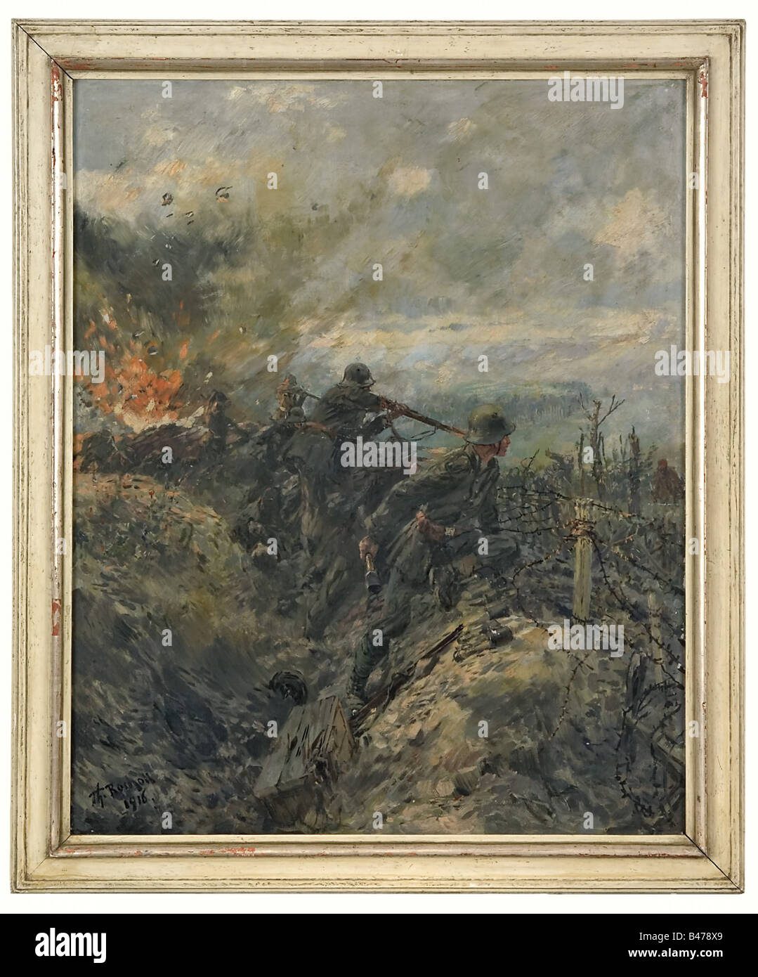 Theodor Rocholl - 'Battle for Hill 265'., Depiction of German infantrymen in a trench fighting off attacking - Stock Image