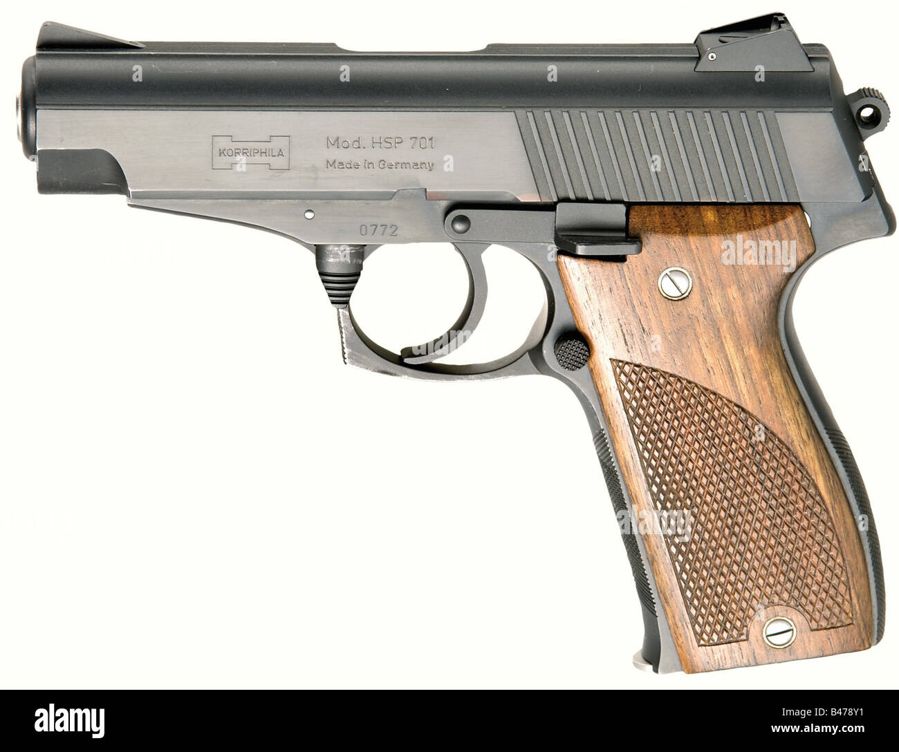 A Korriphila model HSP 701, calibre 9 mm Parabellum, no. 0772. Matching numbers. Bright bore. Proof marked 1986. - Stock Image