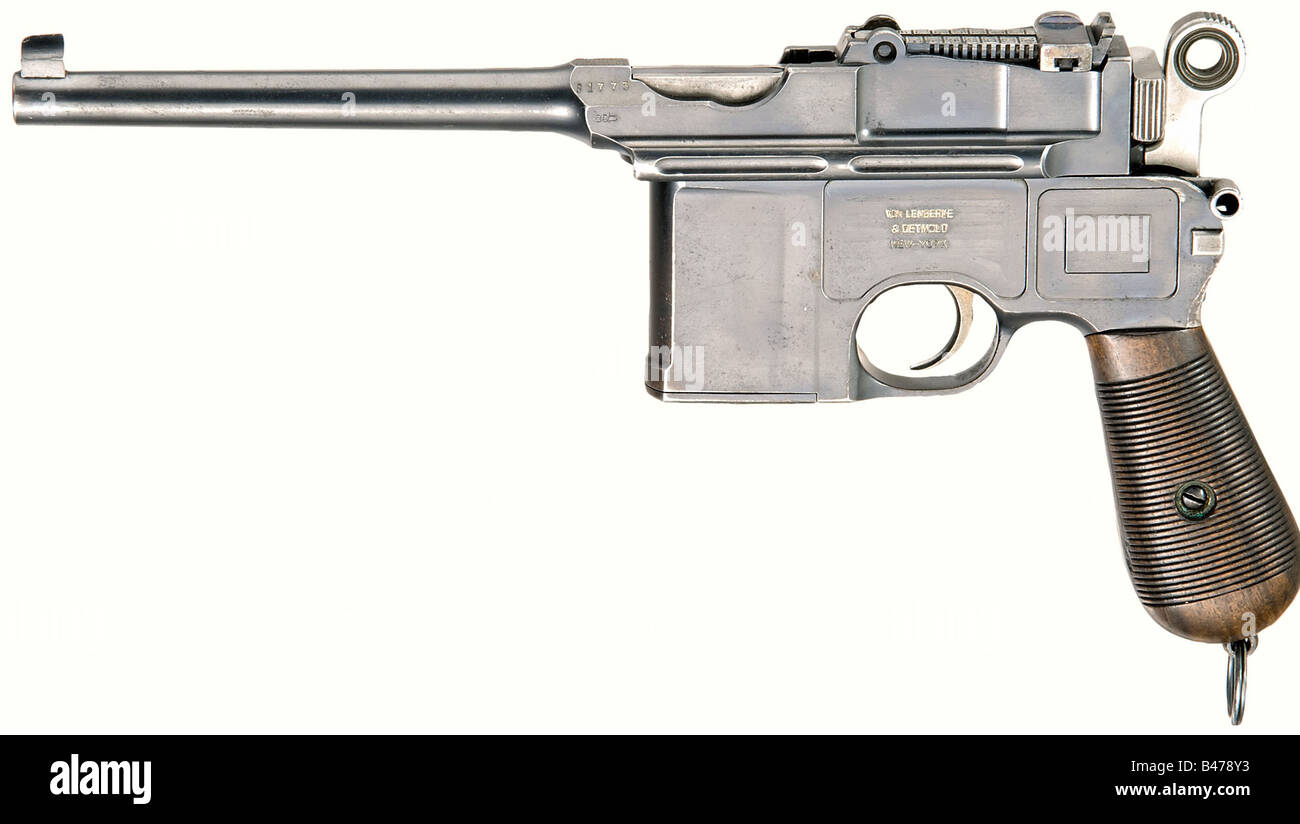 A Mauser C 96 'Shallow-Milled Panel Large Ring Hammer', calibre 7.63 mm, no. 31775. Almost bright bore. - Stock Image