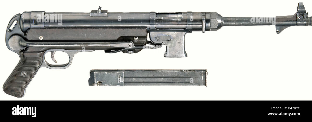 An MP 40. Converted to semi-automatic model 'SLK 38/40', in 9 mm Parabellum calibre. No. 8824. Matching - Stock Image