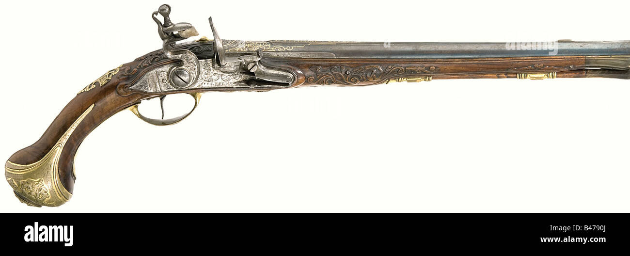 A flintlock pistol, Balthasar Zellner, Zell am Wallersee, circa 1720. Round, slightly swamped barrel with seven - Stock Image