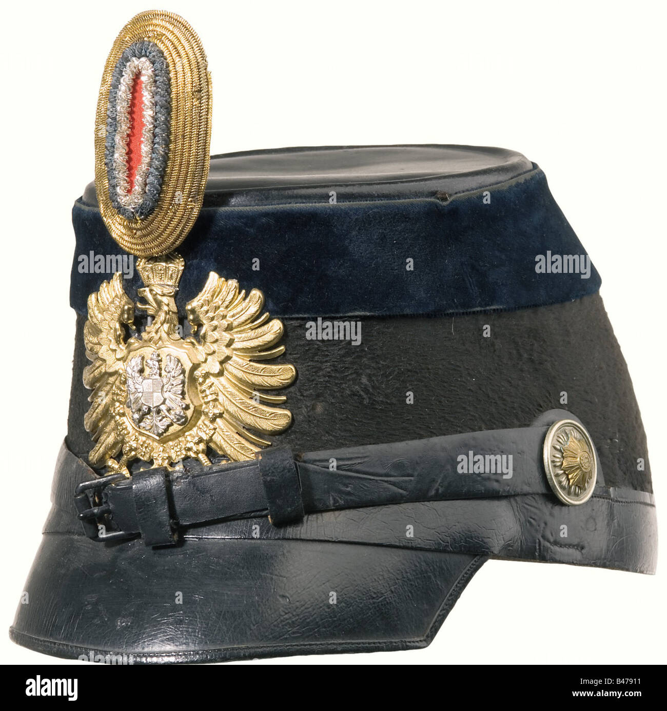 An officer's shako, as worn by the Gendarmerie of the Imperial Provinces of Alasace-Lorraine until 1888. Felt - Stock Image