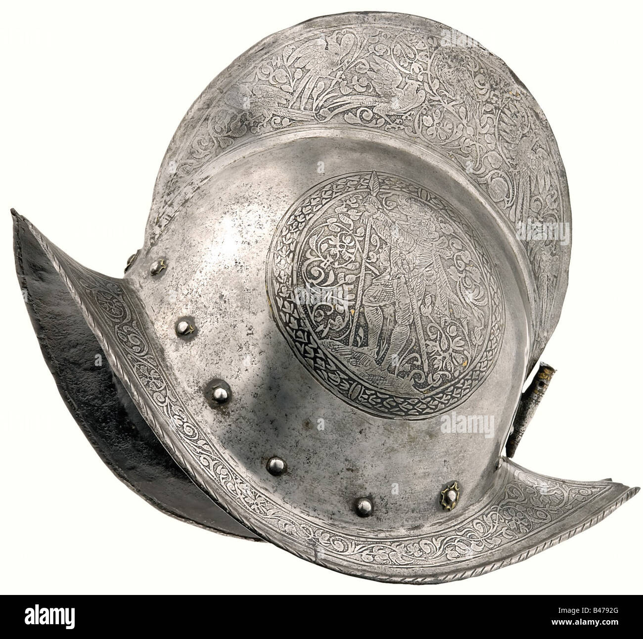 An etched morion, Nuremberg, circa 1590  The skull is forged
