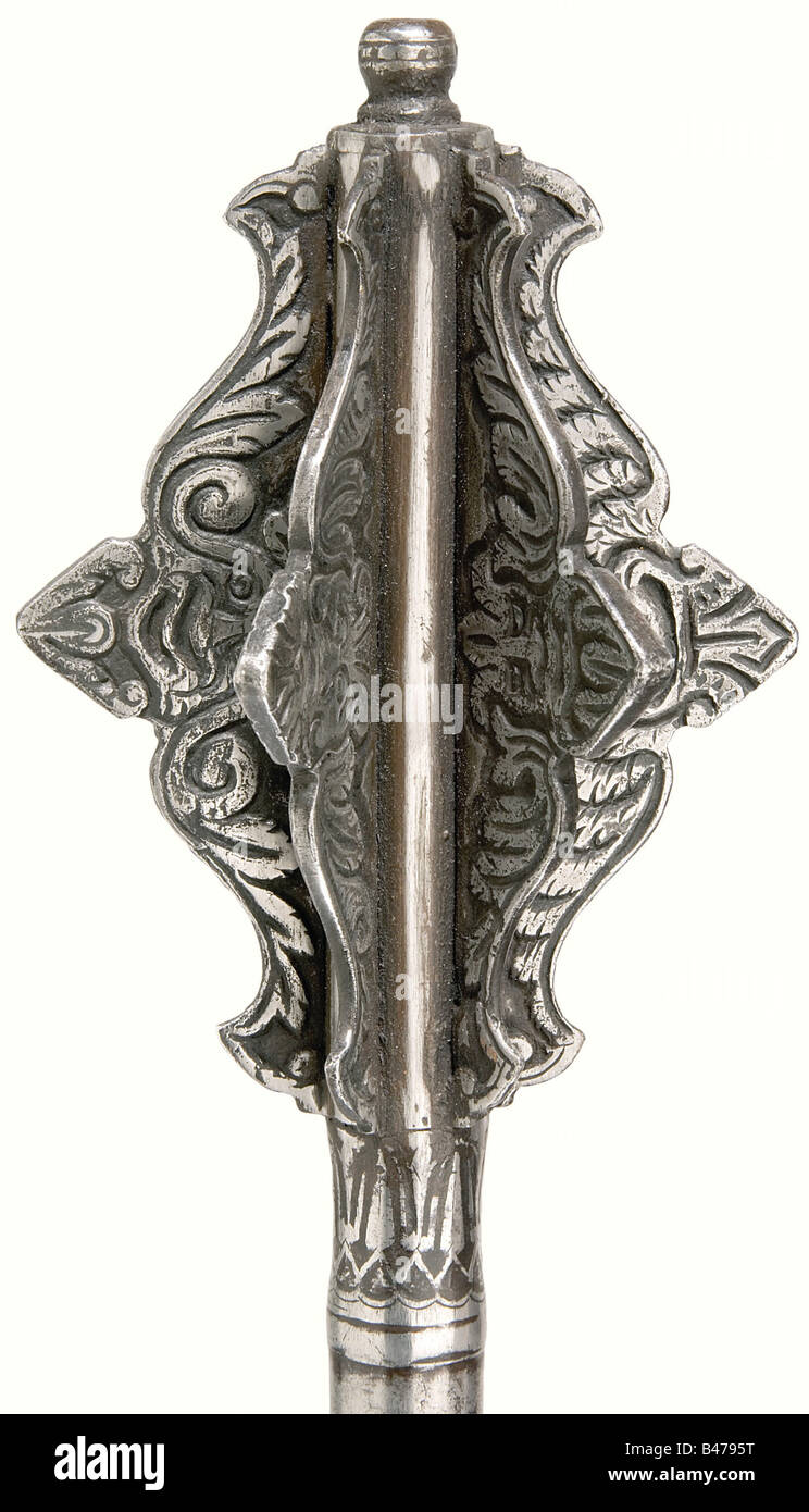 A mace, An historical, reproduction in the Italian style from circa 1500. Six-flanged head with a hollow forged - Stock Image