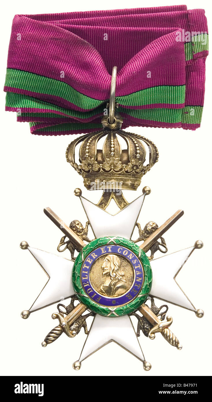 Princely-Saxon House Order of Ernestine., A Commander's Cross with Swords, French crossguards, laurel wreath. - Stock Image